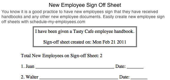 New employee sign off sheet - 6